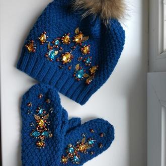 Комплект Зимняя шапка Яремча с варежками
