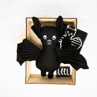 Эко игрушка летучая мышь Органические детские игрушки из льна Подарок на Хэллоуин.