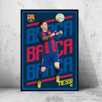 "Постер на ПВХ 3 мм. в рамке ""Messi Barca"" (Lionel Messi Barcelona / Леонель Месси Барселона)"