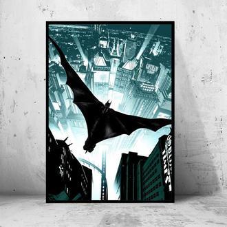 """Постер на ПВХ 3 мм. в рамке """"Batman Flying"""" (Бэтмен в полёте)"""