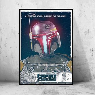 """Постер на ПВХ 3 мм. в рамке """"Star Wars: Boba Fett"""" (Звездные Войны: Боба Фетт)"""