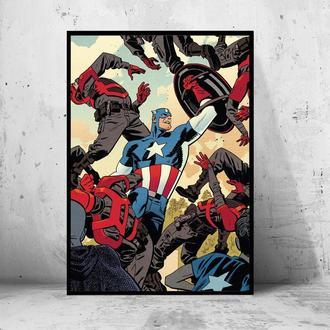 """Постер на ПВХ 3 мм. в рамке """"Captain America"""" (Капитан Америка битва с врагами)"""