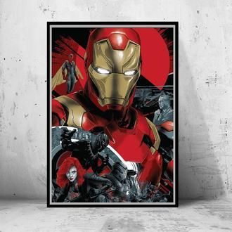 """Постер на ПВХ 3 мм. в рамке """"Civil War: Iron Man"""" (Мстители: противостояние / другая война)"""