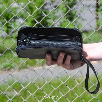 Кожаный кошелёк на молнии