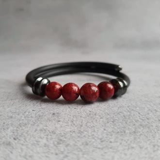 Браслет из натуральных камней (кварц, гематит). Женский браслет. Стильный браслет. Идея подарка.