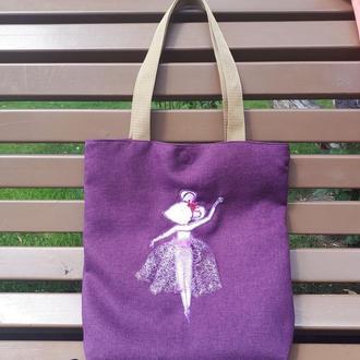 "Эко сумка из рогожки ""Мышка балерина"""