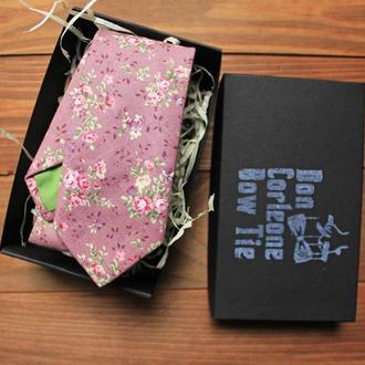 Галстук скини бледно-розовый с розочками