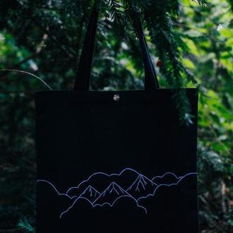 """Эко сумка с минималистичной вышивкой""""Горы"""""""