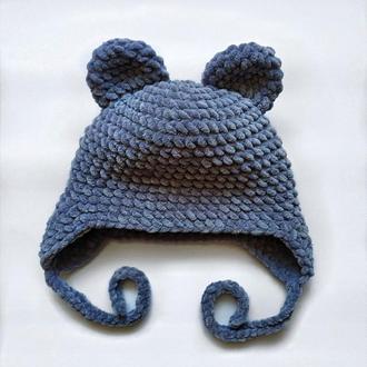 Шапка с ушками вязаная синяя велюр новая теплая handmade