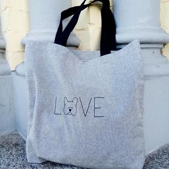 Эко-сумка с вышивкой, шоппер, сумка для покупок, торбинка