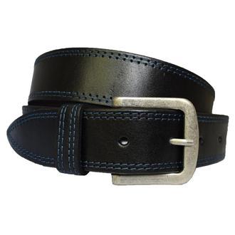 Forward2 кожаный мужской ремень черный пояс простроченный с синей строчкой для джинсов