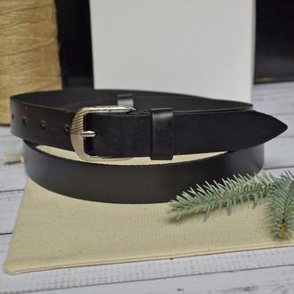 Сlassic9b25 кожаный ремень женский черный узкий пояс натуральная кожа кожанный