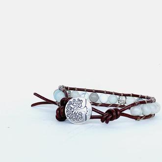 Браслет ручной работы чан лу chan luu из натуральных камней. амазонит, серая бирюза