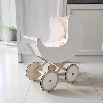 Деревянная коляска для кукол ручной работы