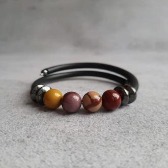 Браслет с натуральными камнями (мукаит, гематит). Женский браслет. Браслет для девушек. Подарок.