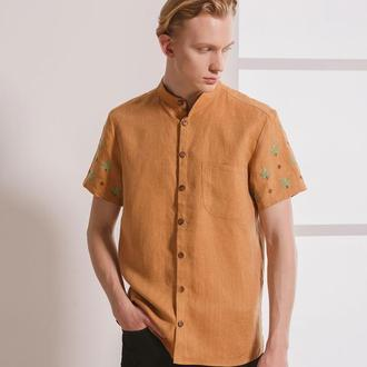Льняная рубашка коричневого цвета с каштанами вышитыми вручную