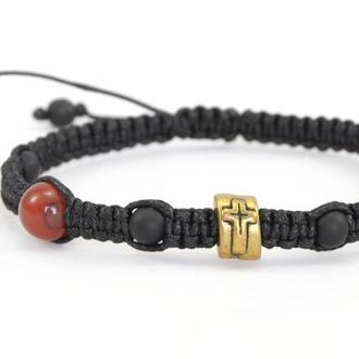 Мужской браслет из натуральных камней, Шамбала с крестом