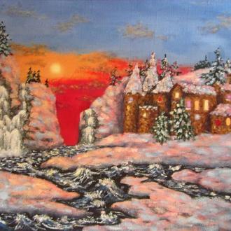 Картина масло холст Замок вечером