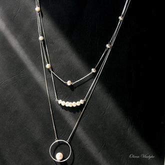 Серебряное колье с жемчугом, ювелирное колье, цепочка с жемчугом