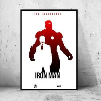 """Постер на ПВХ 3 мм. в рамке """"Iron Man: Tony Stark (Minimalism)"""" (Железный Человек: Тони Старк)"""