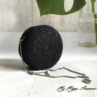 Круглая плетеная сумка из рафии. Соломенная сумка ручной работы.