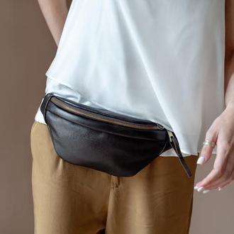 Коричневая сумка на пояс со сьемной бахромой, Стильная кожаная бананка, Небольшая поясная сумка