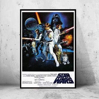 """Кинопостер на ПВХ 3 мм. в рамке """"Star Wars:"""" (Звездные Войны)"""