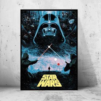 """Кинопостер на ПВХ 3 мм. в рамке """"Star Wars"""" (Звездные Войны)"""