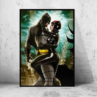 "Постер на ПВХ 3 мм. в рамке ""Batman and Catwoman"" (Бэтмен и Женщина-кошка)"