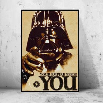 "Постер на ПВХ 3 мм. в рамке ""Star Wars Darth Vader: Your Empire Needs You"" (Дарт Вейдер)"