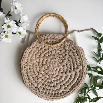 Вязанная сумка,сумка из трикотажной пряжи, пляжна сумка