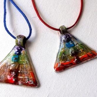 Кулон пирамидка Кулон чакры Талисман Поток Жизни Магический кулончик Кулон с натуральными камням