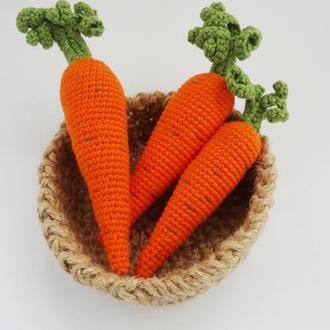 Вязаные овощи морковка для развивающих  игр детская кухня, магазин