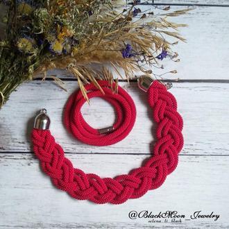 Комплект украшений колье-коса, браслет-намотка Благородный Красный