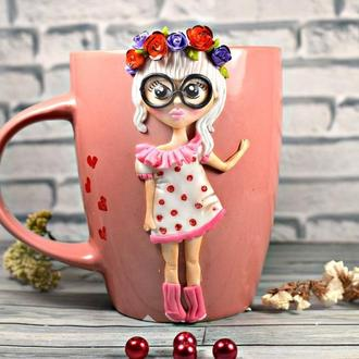 Чашка из полимерной глины, кружка с декором, портретная чашка, кружка из полимерной глины