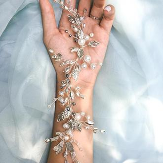 Свадебная веточка с жемчугом и кристаллами