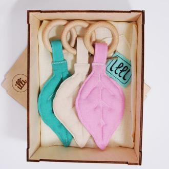 Эко набор для малышки Прорезыватели грызунки для малышей ручной работы Подарок новорожденной девочке