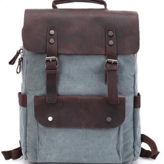 Рюкзак из канвы и натуральной кожи Ренцель