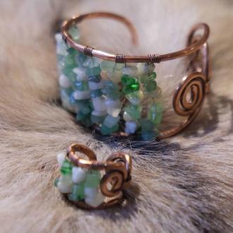 Браслет и кольцо с нефритом