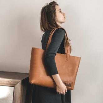 ORSI-Кожаная женская сумка шоппер, кожаная сумка большая , карамельная