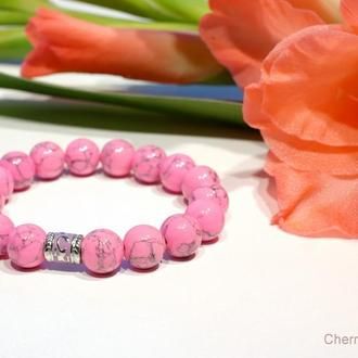 Розовая бирюза, Браслет из камня, Женский браслет