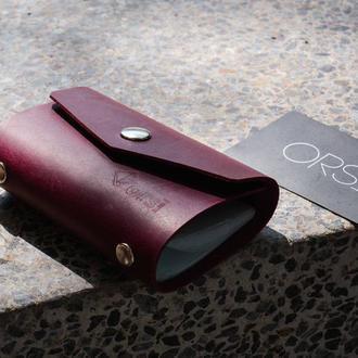Шкіряна візитниця ORSI шкіряна Візитниця чоловіча, жіноча рожева бордова