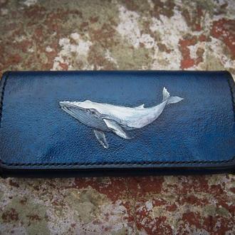 Футляр для очков с китом, купить кожаный футляр, чехол для очков с рисунком