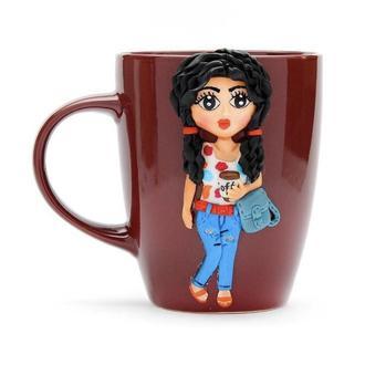 Кружка с декором, чашка из полимерной глины, кружка из глины, кружка на заказ, чашка для девочки