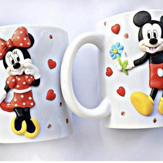 Парные чашки, чашка Микки Маус, парные кружки, кружка Микки, кружка с декором, чашка с декором