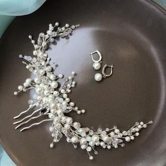 Свадебный полувенок с жемчугом и кристаллами