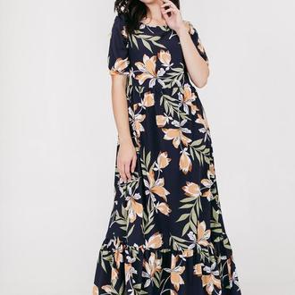 Платье с воланом в цветочный принт