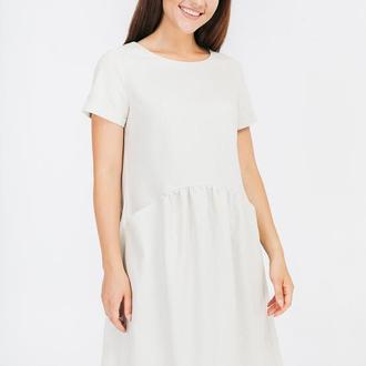 Платье с закруглённым воланом изо льна