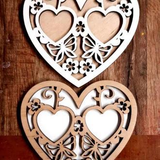 Подставка для Обручальных Колец Сердце 13 см Деревянная Свадебная сердечко підставка для весільних
