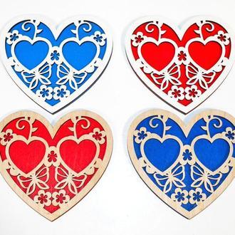 Подставка для Обручальных Колец Сердце Деревянная Свадебная сердечко підставка для весільних обручок